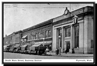 South Main Street at Penniman Avenue, showing the Plymouth United Savings Bank (now Kids Play Cafe) next to the Drug store.